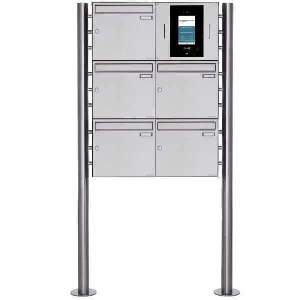 5er Edelstahl Standbriefkasten BASIC Plus 381X ST-R - STR Digitale Türstation - Komplettset