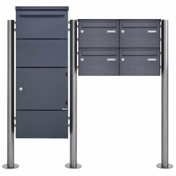 4er Standbriefkasten mit Paketkasten inkl. Schleusentechnik BASIC 862BR ST-R pulverbeschichtet