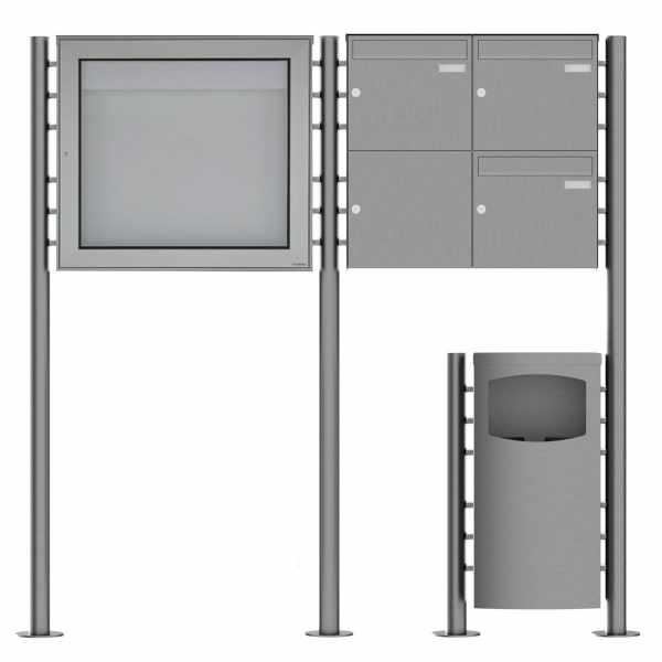 3er 2x2 Edelstahl Standbriefkasten Design BASIC Plus 381X ST-R mit Abfallbehälter & Schaukasten