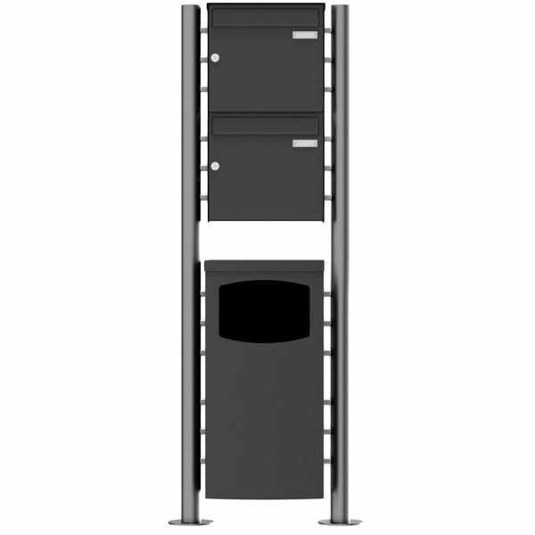 2er Edelstahl Standbriefkasten Design BASIC Plus 381X ST-R mit Abfallbehälter - RAL nach Wahl