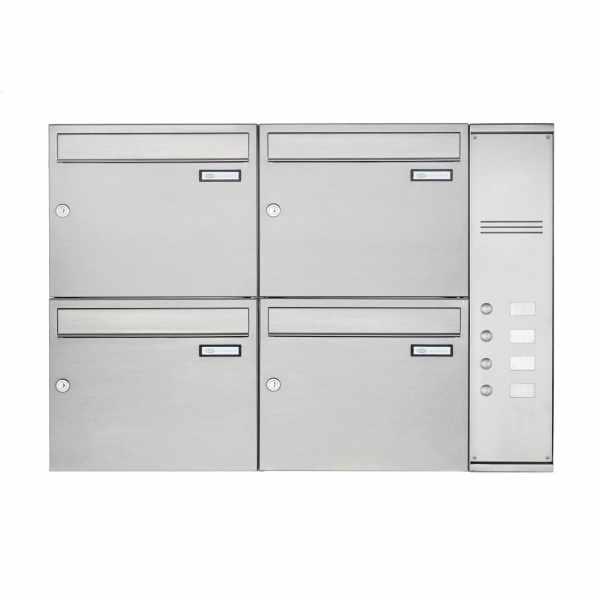 4er Edelstahl Aufputz Briefkasten Design BASIC Plus 592C AP mit Klingelkasten - INDIVIDUELL
