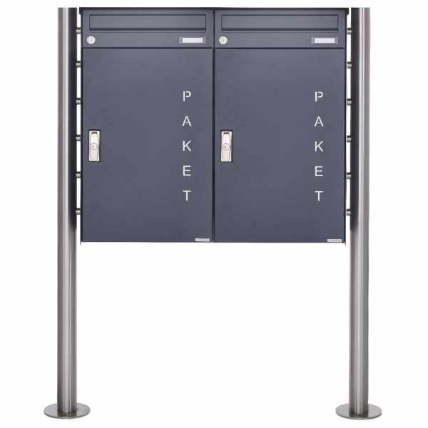 2er 1x2 Paketbriefkasten freistehend BASIC 863 ST-R mit Paketfach 550x370 in RAL 7016 anthrazitgrau