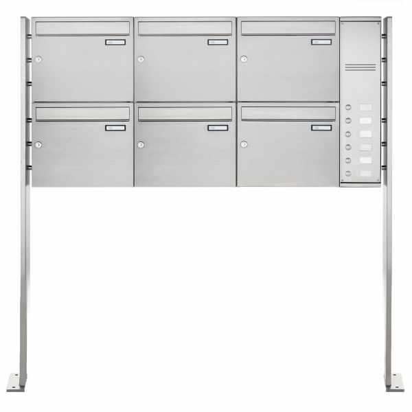 6er Edelstahl Standbriefkasten Design BASIC Plus 592C ST-P - Klingelkasten - INDIVIDUELL