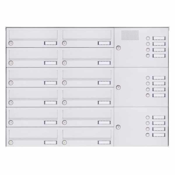 12er Aufputz Briefkastenanlage Design BASIC 385A-9016 AP mit Klingelkasten - RAL 9016 verkehrsweiß