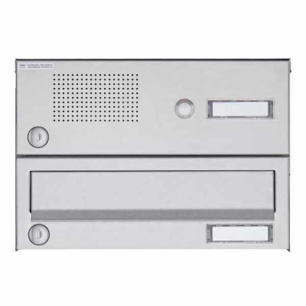 1er Aufputz Briefkastenanlage Design BASIC 385A AP mit Klingelkasten - Edelstahl V2A, geschliffen