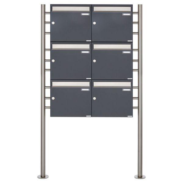 6er 3x2 Briefkastenanlage freistehend Design BASIC 381 ST-R - Edelstahl-RAL 7016 anthrazitgrau