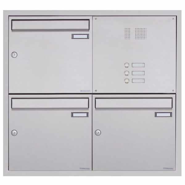 3er 2x2 Edelstahl Unterputz Briefkastenanlage BASIC Plus 382XU UP mit Klingelkasten