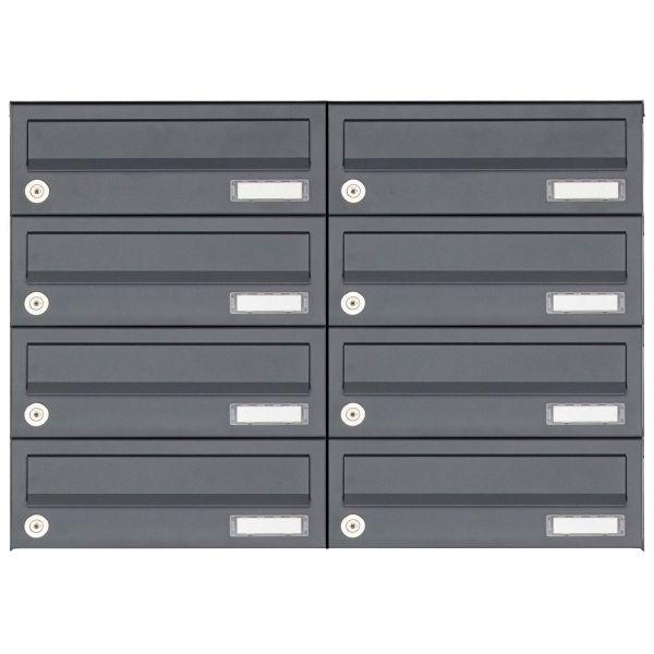 8er 4x2 Aufputz Briefkastenanlage Design BASIC 385A AP - RAL 7016 anthrazitgrau