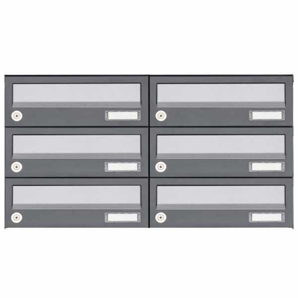 6er 3x2 Aufputz Briefkastenanlage Design BASIC 385A AP -Edelstahl-RAL 7016 anthrazit