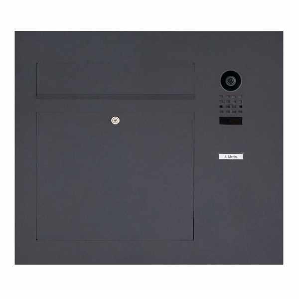 Edelstahl Briefkasten Designer Modell BIG seitlich mit DoorBird Video- Sprechanlage RAL Farbe