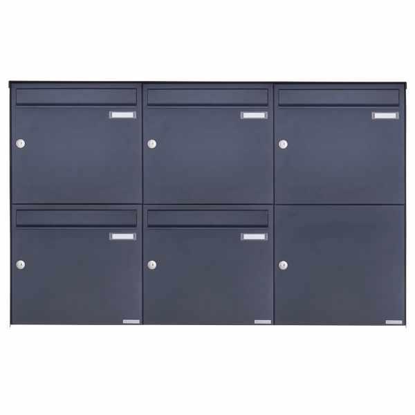 5er 2x3 Edelstahl Aufputz Briefkasten Design BASIC Plus 382XA AP - RAL nach Wahl