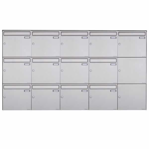 13er 3x5 Edelstahl Aufputz Briefkasten Design BASIC Plus 382XA AP - Edelstahl V2A geschliffen