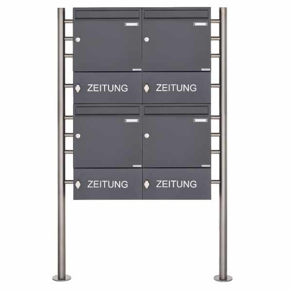 4er 2x2 Standbriefkasten Design BASIC 381 ST-R mit Zeitungsfach geschlossen - RAL 7016 anthrazitgrau