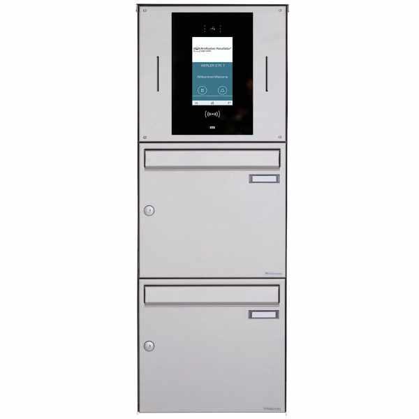 2er Aufputzbriefkasten BASIC Plus 382XA AP - Edelstahl geschliffen - STR Digitale Türstation