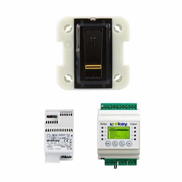 ekey home Set - Fingerscanner UP I 102008 schwarz - Steuereinheit REG für 2 Tür/Gerät - Netzteil REG