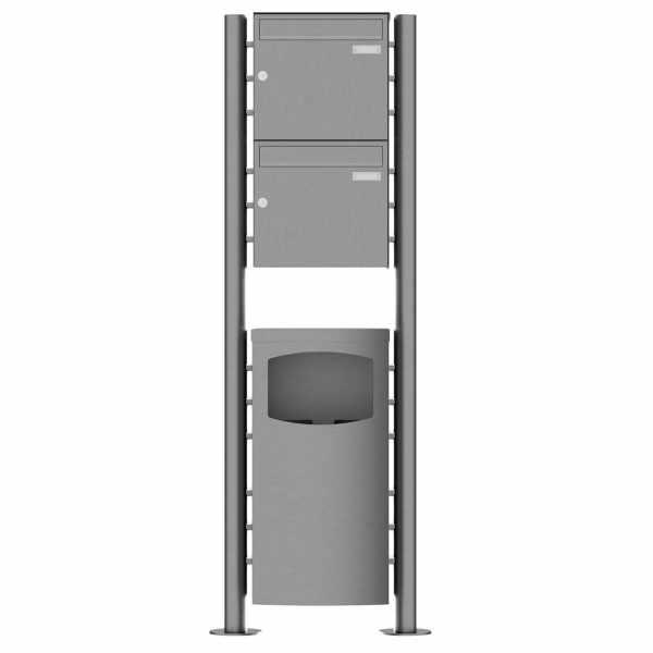 2er Standbriefkasten Design BASIC Plus 381X ST-R mit Abfallbehälter - Edelstahl V2A geschliffen