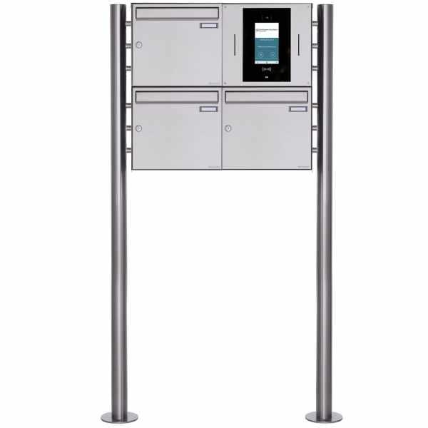 3er Edelstahl Standbriefkasten BASIC Plus 381X ST-R - STR Digitale Türstation - Komplettset