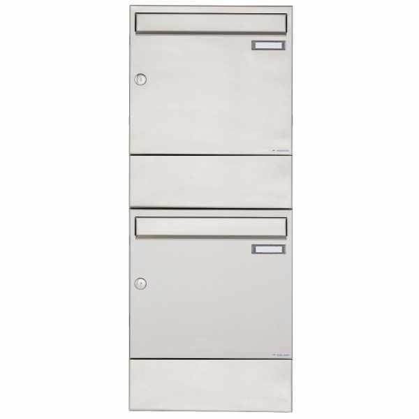 2er 2x1 Edelstahl Aufputz Briefkasten BASIC 382A AP mit Zeitungsfach