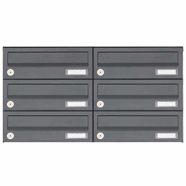6er 3x2 Aufputz Briefkastenanlage Design BASIC 385A AP - RAL 7016 anthrazitgrau