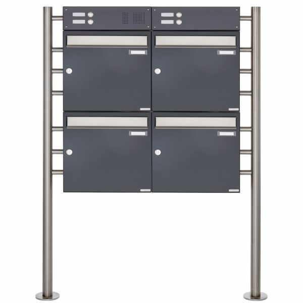 4er Standbriefkasten Design BASIC 381 ST-R mit Klingelkasten - Edelstahl-RAL 7016 anthrazitgrau