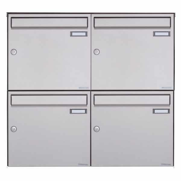 4er Edelstahl Aufputz Briefkasten Design BASIC Plus 382XA AP - Edelstahl V2A geschliffen