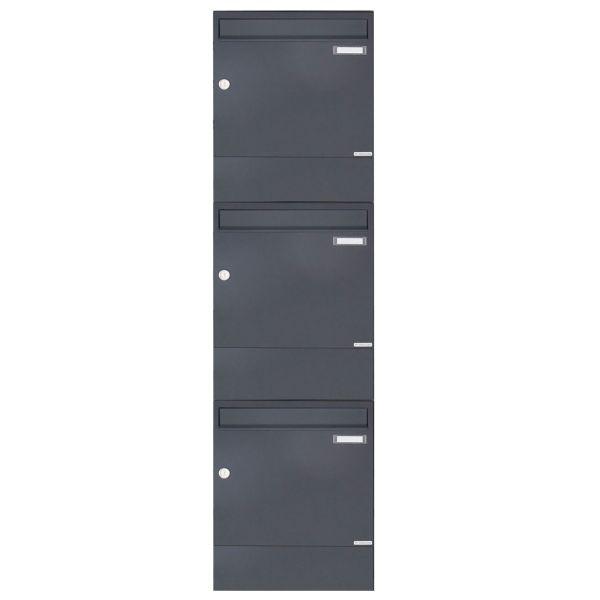 3er 3x1 Aufputz Briefkasten BASIC 382A AP mit Zeitungsfach - RAL 7016 anthrazitgrau