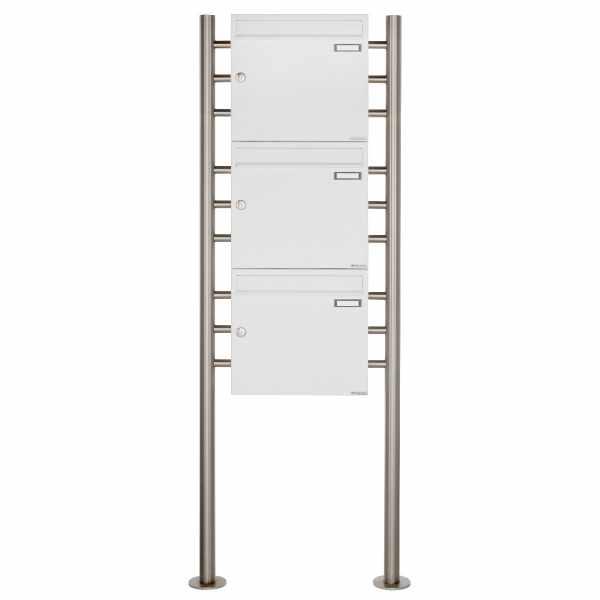 3er 3x1 Briefkastenanlage freistehend Design BASIC 381 ST-R - RAL 9016 verkehrsweiß