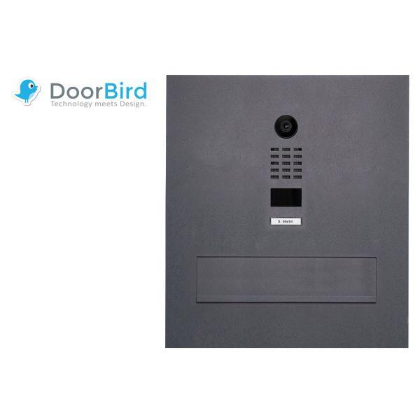 Edelstahl Mauerdurchwurfbriefkasten Designer BIG mit DoorBird Video- Sprechanlage - RAL Farbe