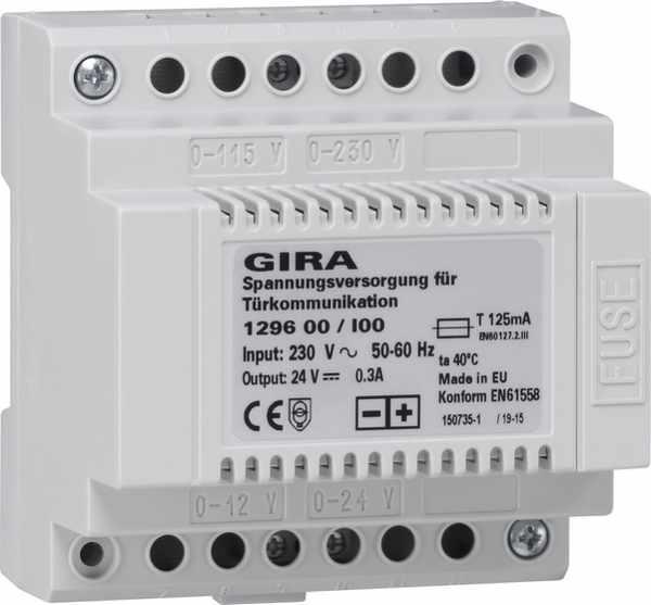 Gira Spannungsversorgung für Türkommunikation DC 24 V 300 mA REG 129600