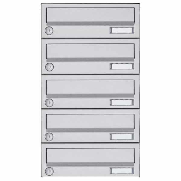 5er Aufputz Briefkastenanlage Design BASIC 385A AP - Edelstahl V2A, geschliffen