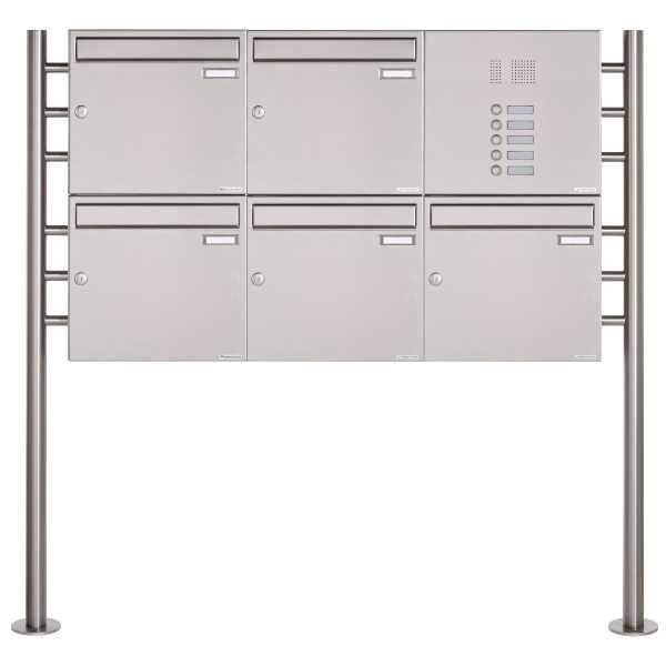 5er 2x3 Edelstahl Standbriefkasten Design BASIC 381 ST-R mit Klingelkasten