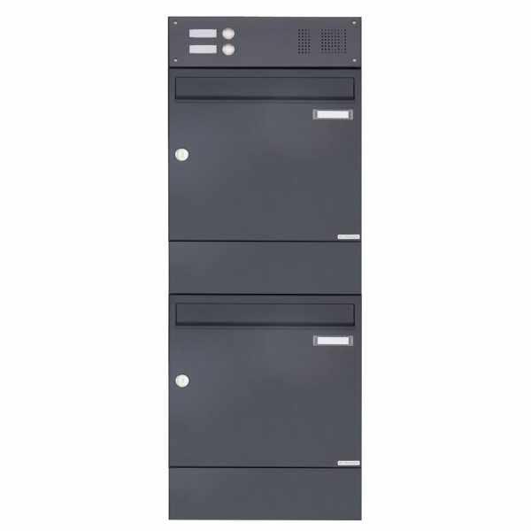 2er 2x1 Aufputz Briefkasten BASIC 382A AP mit Klingelkasten & Zeitungsfach - RAL 7016 anthrazitgrau