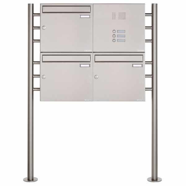 3er 2x2 Edelstahl Standbriefkasten Design BASIC 381 ST-R mit Klingelkasten