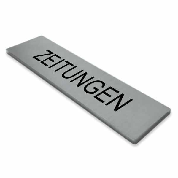 """Selbstklebendes Namensschild """"ZEITUNGEN"""" aus Edelstahl"""