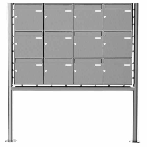 12er 3x4 Edelstahl Standbriefkasten Design BASIC Plus 381X ST-R - Edelstahl V2A geschliffen
