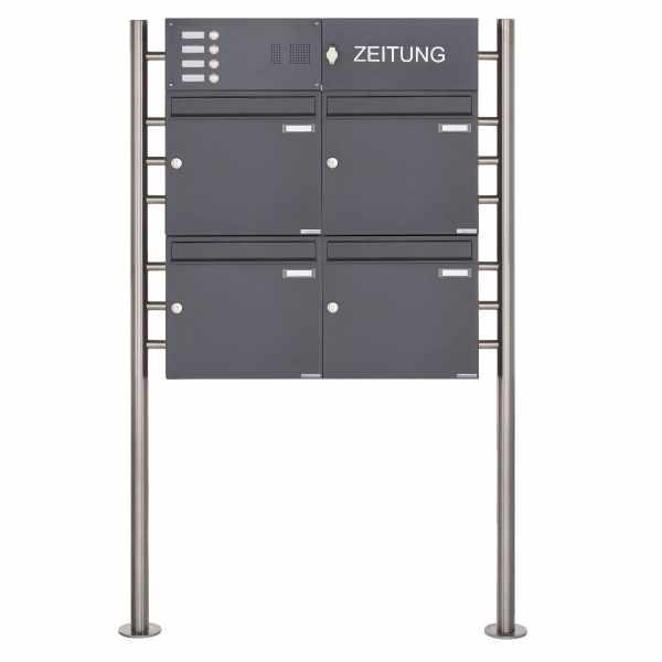 4er Standbriefkasten Design BASIC 381 ST-R mit Klingelkasten & 1x Zeitungsfach- RAL 7016 anthrazit