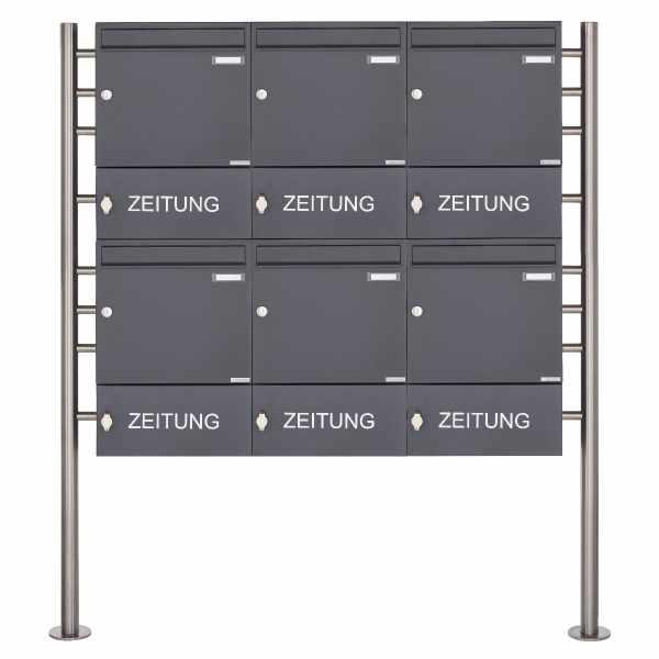 6er 2x3 Standbriefkasten Design BASIC 381 ST-R mit Zeitungsfach geschlossen - RAL 7016 anthrazitgrau