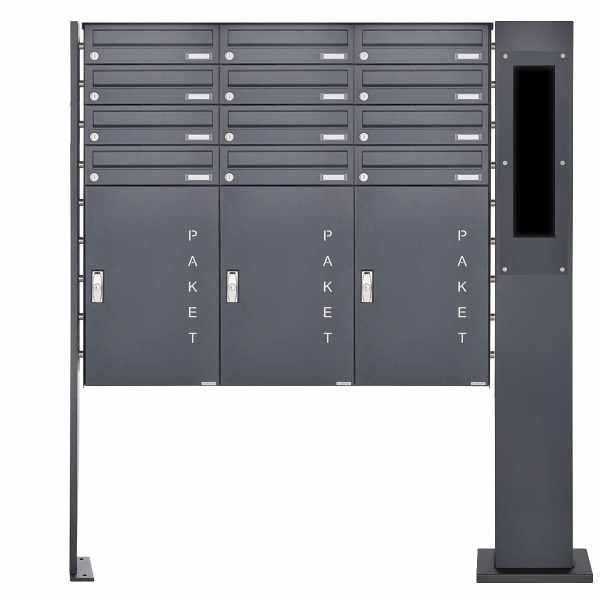 12er Paketbriefkasten freistehend BASIC 870863 ST-P RAL 7016 - GIRA 106 5-fach vorbereitet