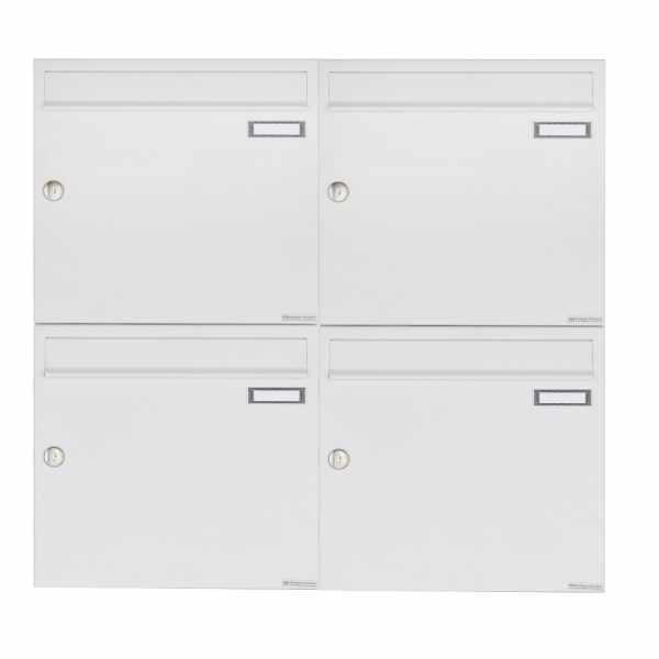 4er 2x2 Aufputz Briefkastenanlage Design BASIC 382A AP - RAL 9016 verkehrsweiß