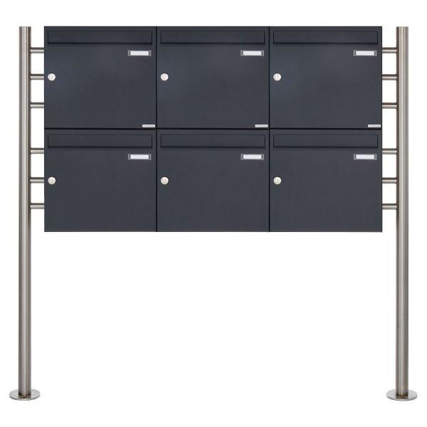 6er 2x3 Briefkastenanlage freistehend Design BASIC 381 ST-R - RAL 7016 anthrazitgrau