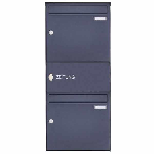 2er Edelstahl Aufputz Briefkasten Design BASIC Plus 382XA AP mit Zeitungsfach - RAL nach Wahl