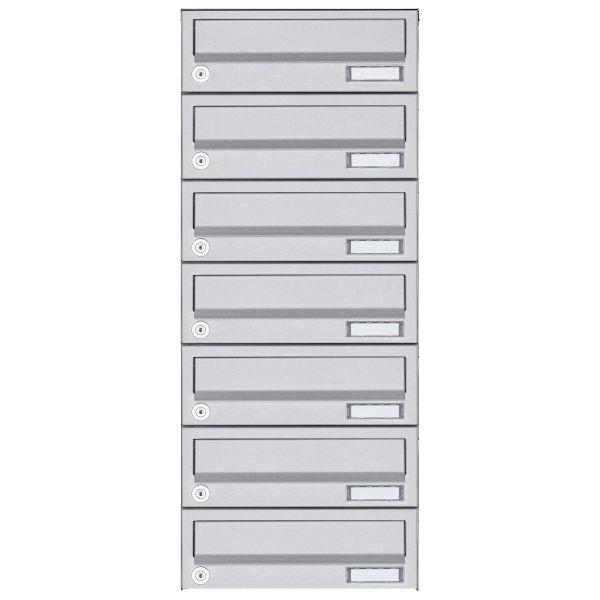 7er Aufputz Briefkastenanlage Design BASIC 385A AP - Edelstahl V2A, geschliffen