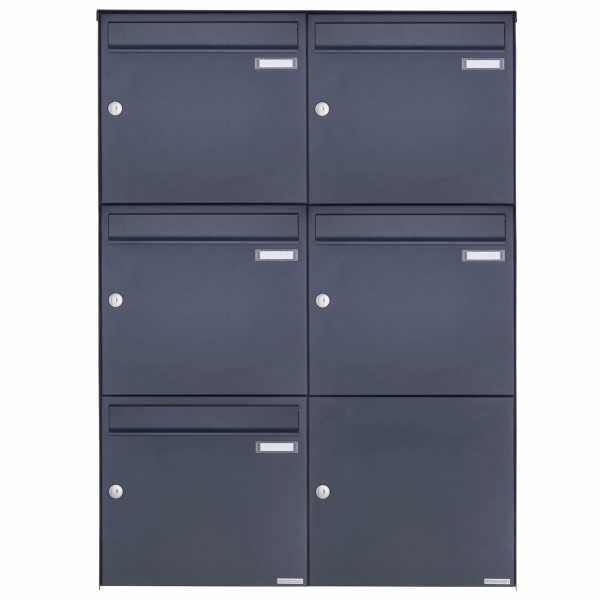 5er 3x2 Edelstahl Aufputz Briefkasten Design BASIC Plus 382XA AP - RAL nach Wahl
