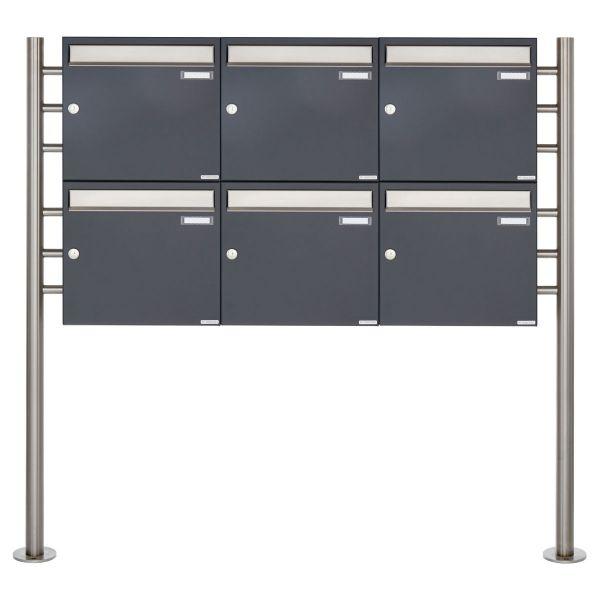 6er 2x3 Briefkastenanlage freistehend Design BASIC 381 ST-R - Edelstahl-RAL 7016 anthrazitgrau