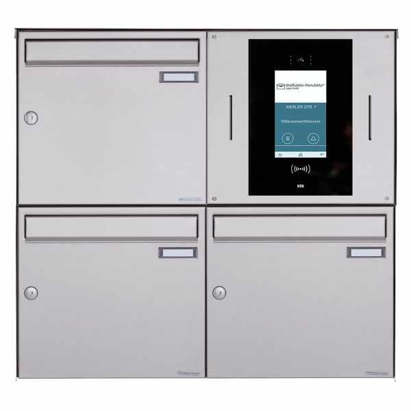 3er Aufputzbriefkasten BASIC Plus 382XA AP - Edelstahl geschliffen - STR Digitale Türstation