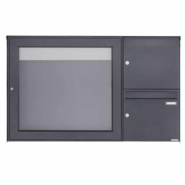 Aufputz Briefkasten BASIC Plus 389XA AP mit Schaukasten - 710x660 - RAL nach Wahl