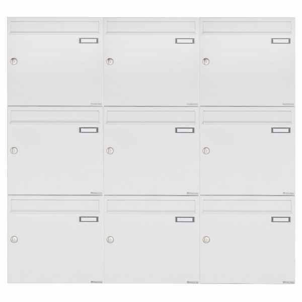 9er 3x3 Aufputz Briefkastenanlage Design BASIC 382A AP - RAL 9016 verkehrsweiß