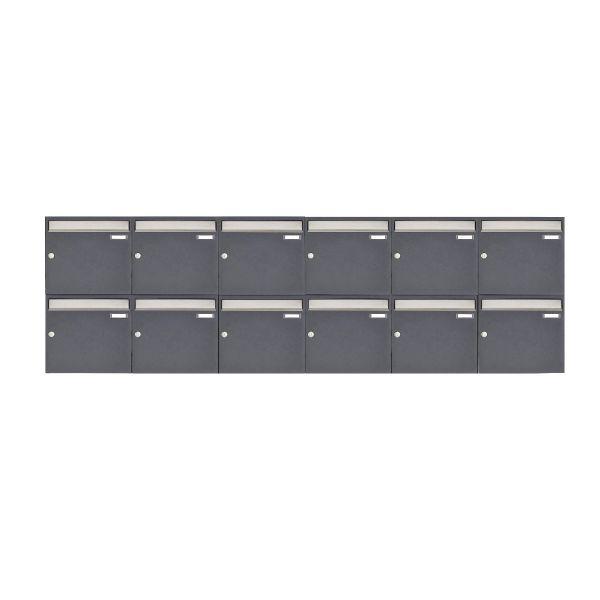 12er 2x6 Aufputz Briefkastenanlage Design BASIC 382 AP - Edelstahl-RAL 7016 anthrazitgrau