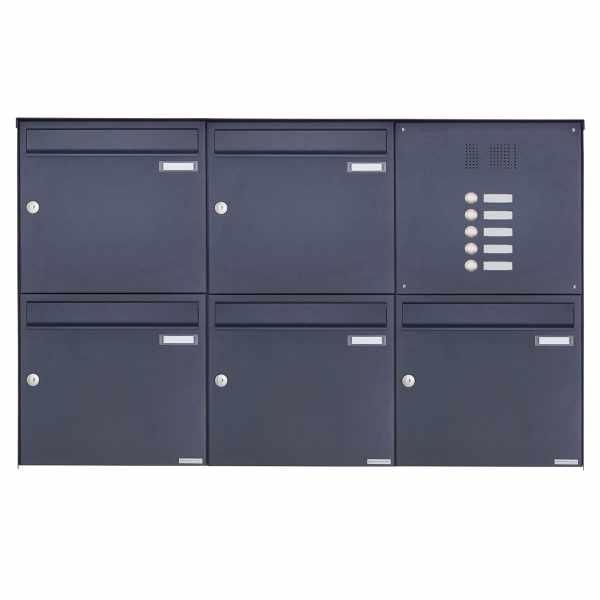 5er 2x3 Edelstahl Aufputz Briefkasten Design BASIC Plus 382XA AP mit Klingelkasten - RAL nach Wahl