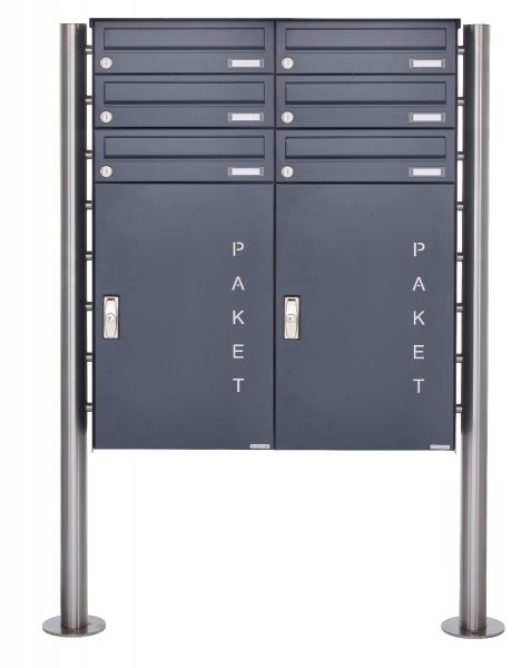 6er 3x2 Paketbriefkasten freistehend BASIC 863 ST-R mit Paketfach 550x370 in RAL 7016 anthrazitgrau
